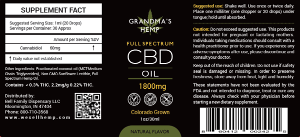 Grandma's Hemp 1800 CBD Oil