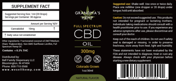 Grandma's Hemp 300mg Full Spectrum CBD Oil